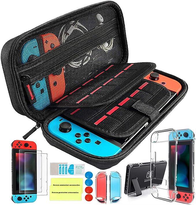 Imagen deTh-some Kit de Accesorios 14 en 1 para Nintendo Switch, Funda Protectora para Interruptor Nintendo, Cubierta Transparente para Interruptor, Protector de Pantalla, Tapas Empuñadura de Pulgar (Negro)