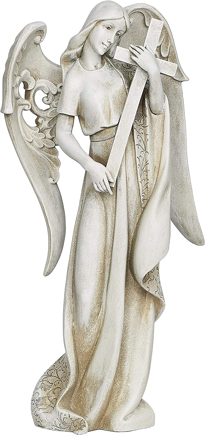 Angel Holding Cross Textured Concrete Look 9 x 18.5 Resin Outdoor Garden Statue