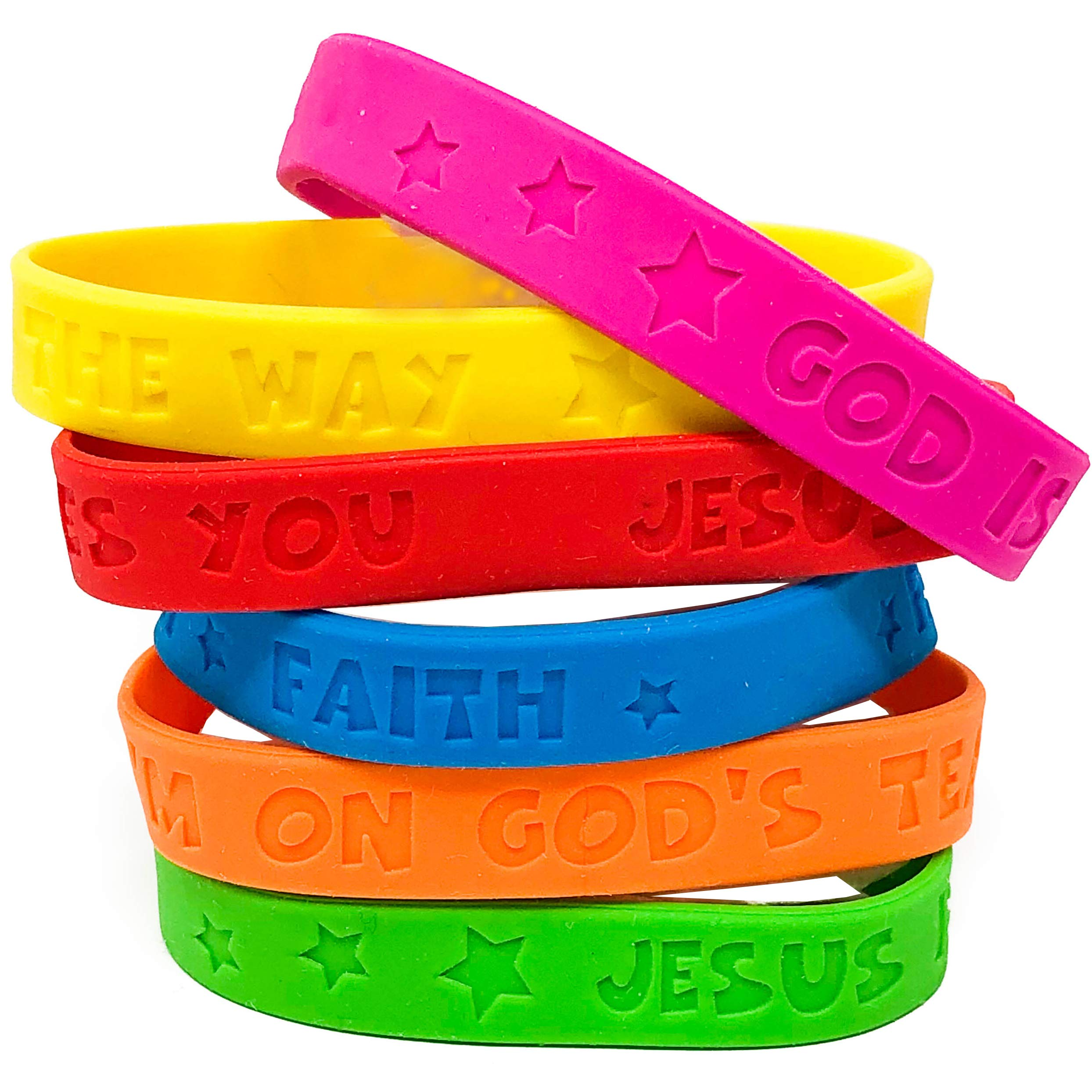 100 Piece Religious Sayings Rubber Bracelet Mega Assortment - All TPR by Podzly