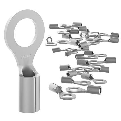 AUPROTEC 100x Ringkabelschuhe 1,5-2,5 mm/² Loch-/Ø M3 Unisoliert RNB Kabel-Verbinder aus Kupfer verzinnt