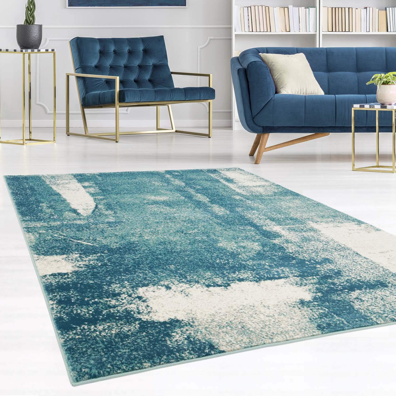 Carpet city Teppich Modern Designer Wohnzimmer Inspiration Arte Vintage Meliert Pastel-Blau Creme Größe 200 290 cm
