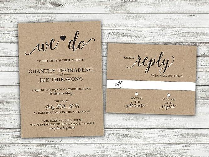 655b54218c577 Amazon.com: We Do Country Wedding Invitations Set Printed, Rustic ...
