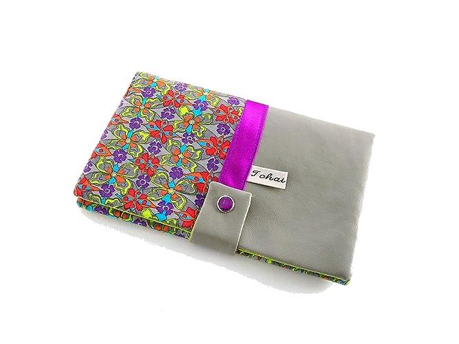 portefeuille femme gris a fleurs graphiques,