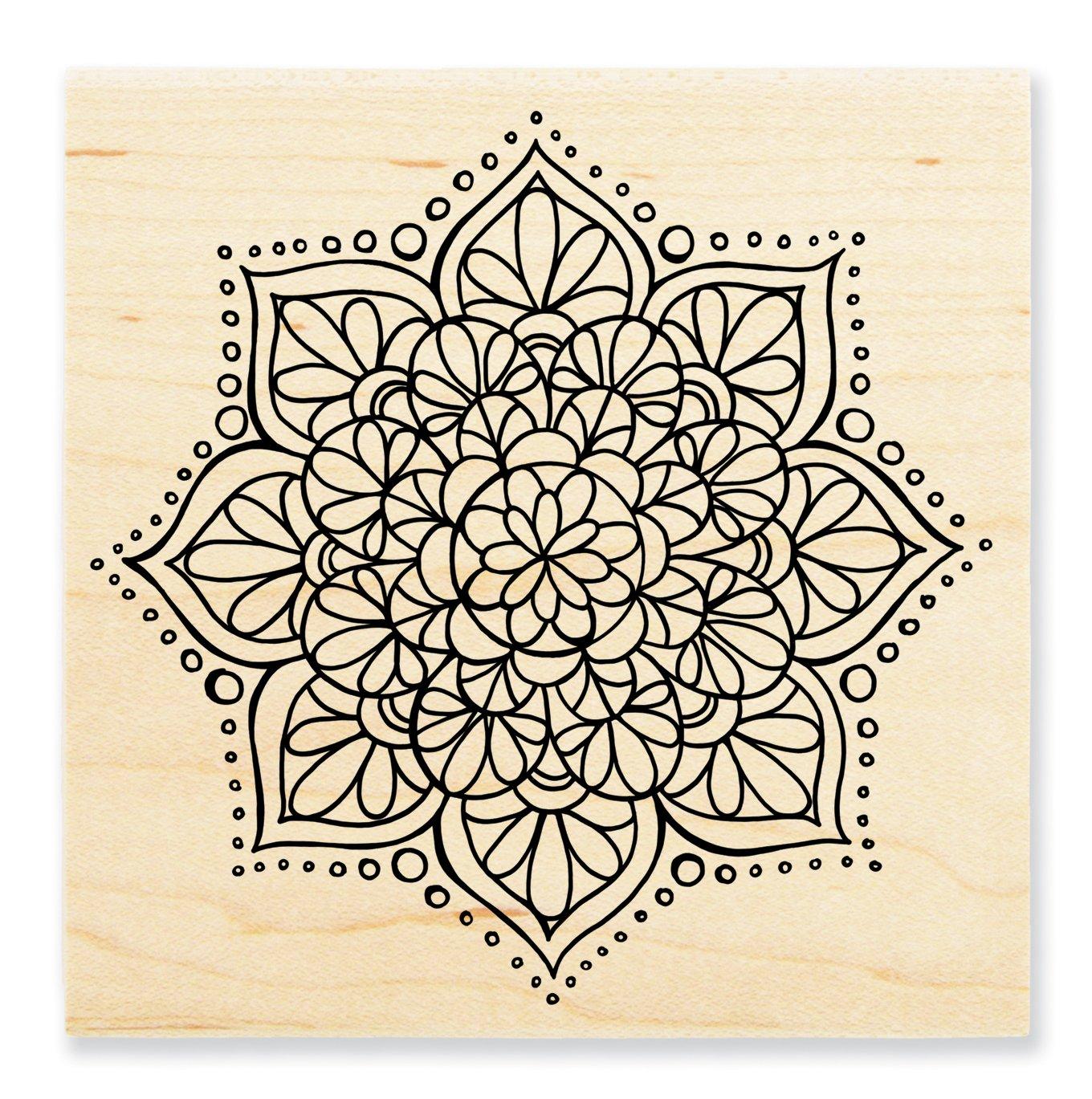 STAMPENDOUS Wood Rubber Stamp Mandala Flower