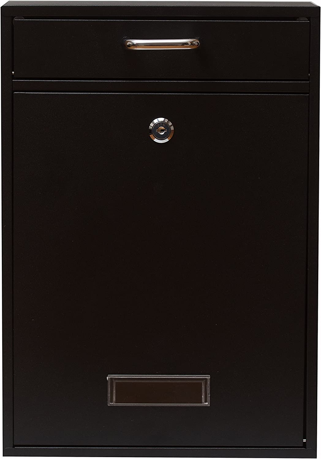 Wall Mounted Locking Vertical Dropbox Mailbox - Safe and Secure (Large) | Made with Galvanized Steel | Yulli