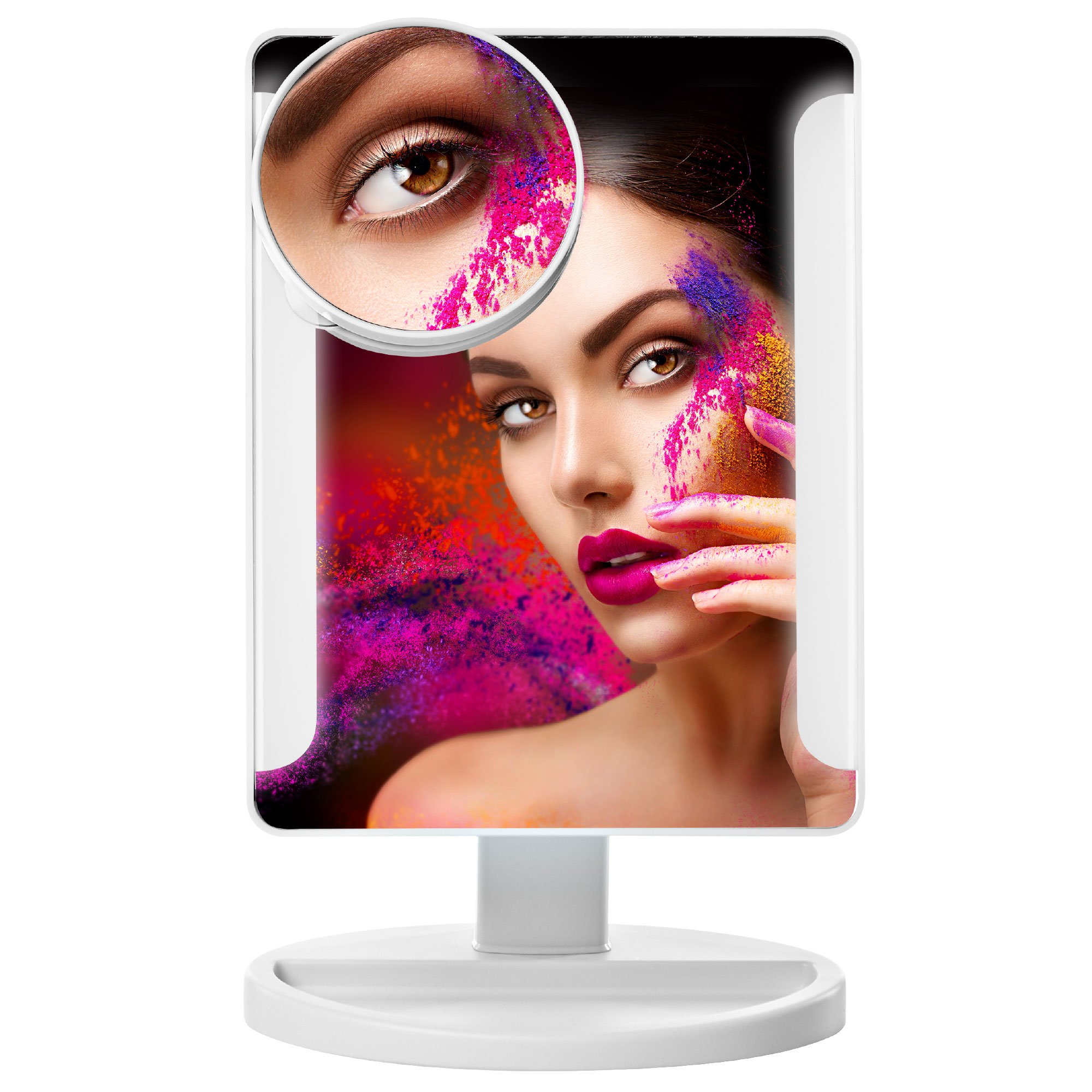 MacKleo LED Makeup Mirror - Smart Touch Portable and Adjustable Compact Travel Vanity Mirror - Natural Daylight Lighted Mirror with USB Cable