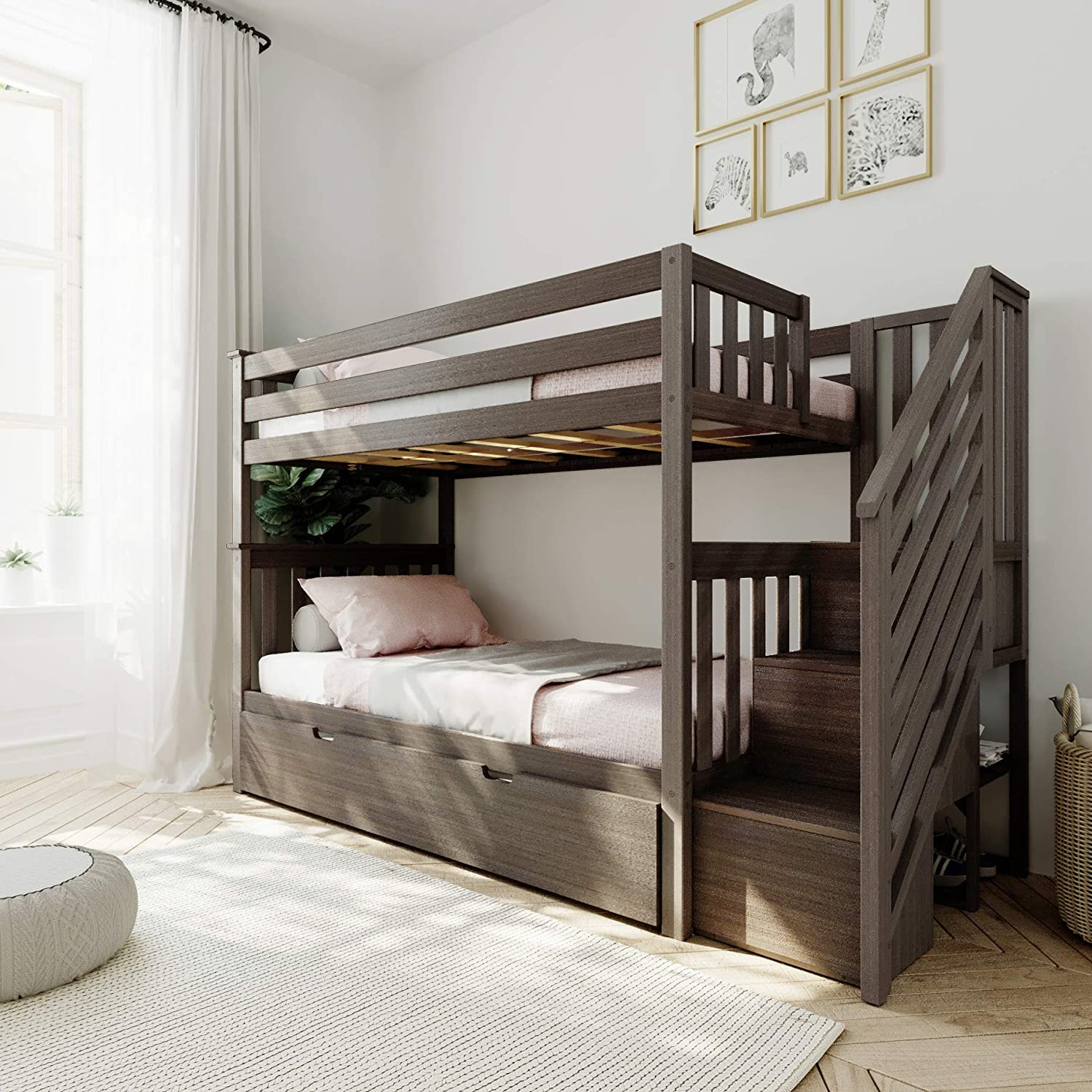 Amazon Com Max Lily Bunk Bed With Stairs And Trundle Twin Clay Furniture Decor