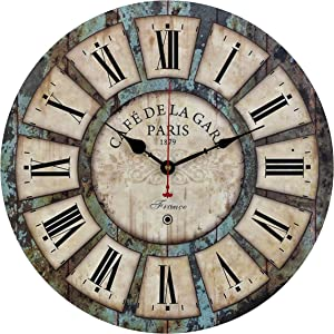 Old Oak Decorative Wall Clock Vintage Large 16-Inch Silent Non-Ticking for Kitchen Living Room Bathroom Bedroom Wall Decor with Roman Numerals