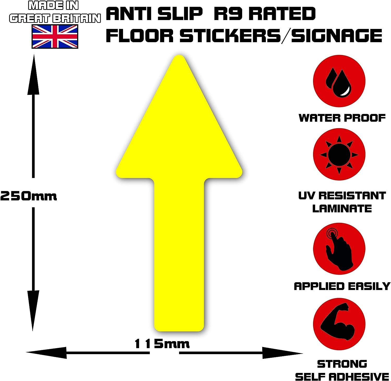 250mm x 115mm amarillo Flecha One Way Customer Management Social DISTANCING autoadhesivo para piso de se/ñalizaci/ón