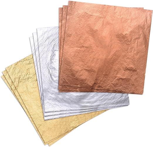 100X Gold//Silver//Copper Foil Leaf Paper Food Cake Decor Edible Gilding DIY Craft