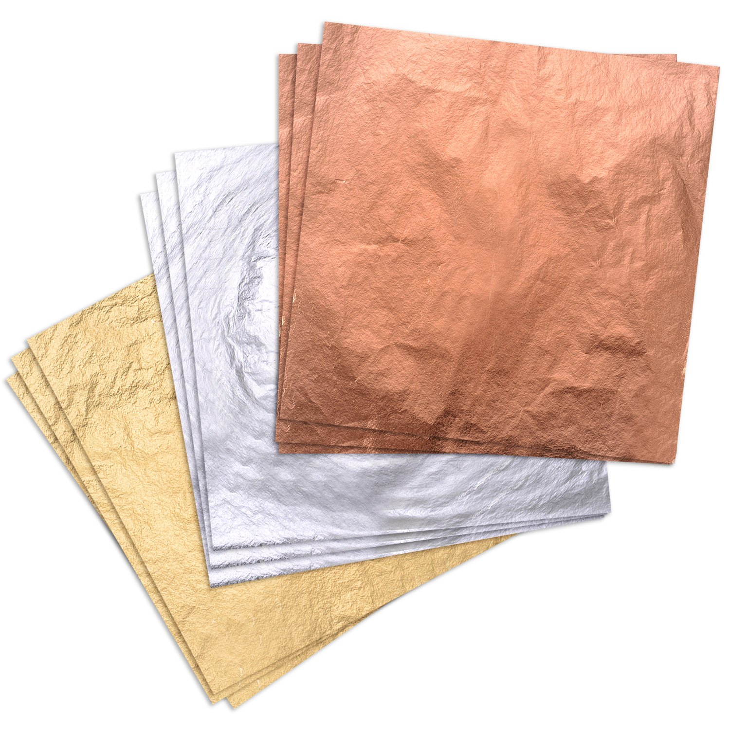 Pangda 300 Pieces Gilding Foil Imitation Gold, Silver and Copper Leaf for DIY Art Crafts Decoration SWEET-797