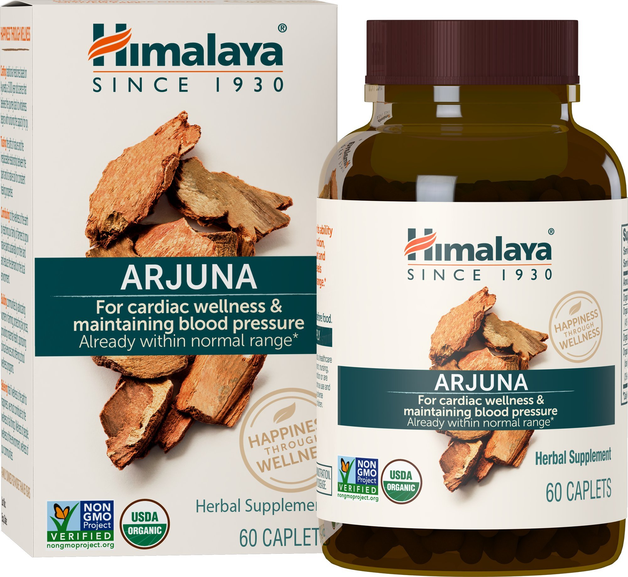 Himalaya Organic Arjuna 60 Caplets for Cholesterol, Blood Pressure & Healthy Heart Function Support 700mg, 2 Month Supply