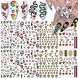 Nail Art Stickers Decals 3D Nail Art Supplies Sunflower Snake Heart Tiger Butterfly Nail Decals for Nail Art Design Self Adhe