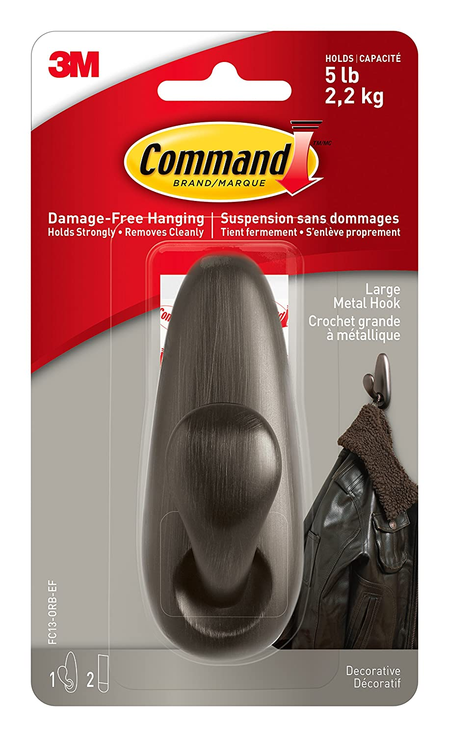 Command Large Forever Classic Hooks, 1-Hook, 4-Pack, Oil Rubbed Bronze