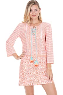 27568ade2a Cabana Life Women s Three-Quarter Sleeve Cabana Shift Dress at ...