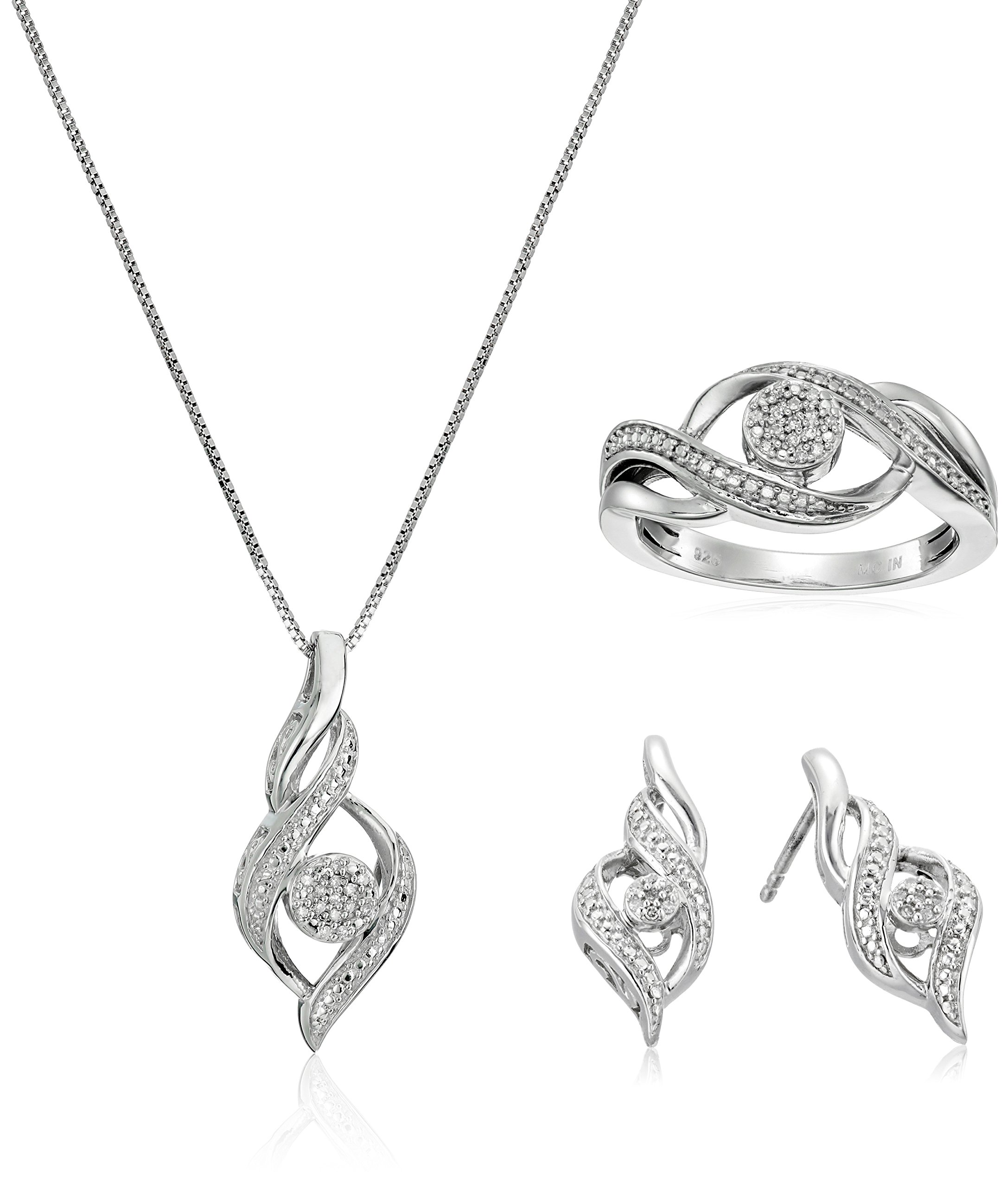 Sterling Silver Diamond Ring Size 7, Earrings, and Pendant Necklace Jewelry Set (1/8 cttw, J-K Color, I2-I3 Clarity) by Amazon Collection (Image #1)