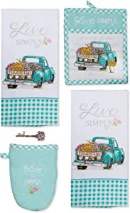 Kay Dee Designs Flower Truck Teal Blue Live Simply Kitchen Terry Towels, Potholder, Oven Mitt and Rustic Bottle Opener Set of 5