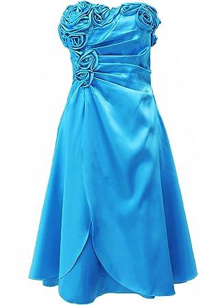 Kurzes Satin Kleid, Abendkleid, Ballkleid, Cocktailkleid 2505 mit Stola  türkis Gr. 38