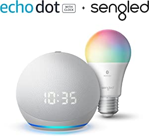 Echo Dot (4th Gen) with Clock with Sengled Color Bulb, Glacier White