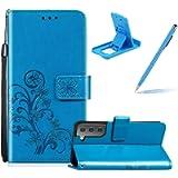 Blue Leather Case for Samsung Galaxy S21 5G,Strap Wallet Flip Cover for Samsung Galaxy S21 5G,Herzzer Classic Pretty…