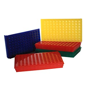 Bio Plas 0091 Polypropylene 96 Well Reversible Microcentrifuge Tube Rack, Autoclavable, Assorted (Pack of 5)