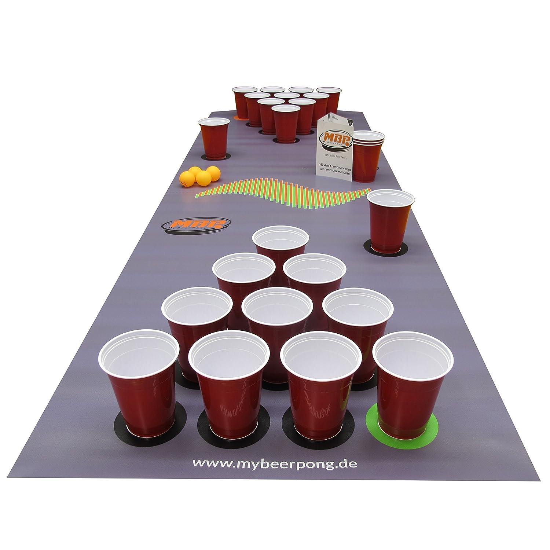 Beer Pong Set DarkGrey inklusive Spielfeld, 25 Red Solo Cups, 4 Beerpong Bälle & mehr, die Alternative zum Beer Pong Tisch (Small) MyBeerPong GbR