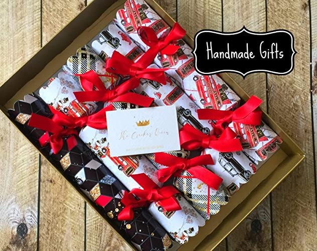 Luxury London Christmas Crackers Red Black Gold Amazon Co Uk Handmade
