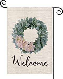 AVOIN Welcome Lamb's Ear Grapevine Wreath with Pink Hydrangea Garden Flag Vertical Double Sided, Spring Summer Farmhouse Flag Yard Outdoor Decoration 12.5 x 18 Inch