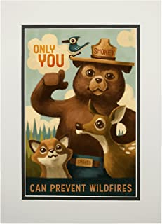product image for Smokey Bear - Only You - Oil Painting (11x14 Double-Matted Art Print, Wall Decor Ready to Frame)