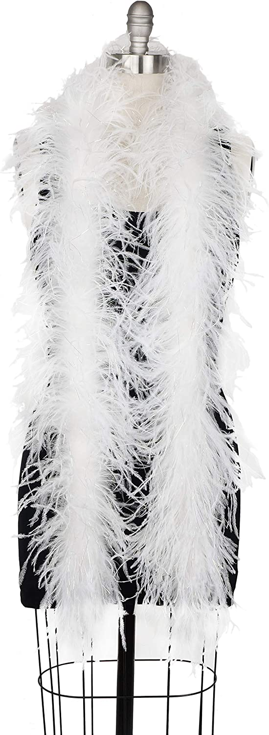 White Opal Lurex 1920s Flapper Costume Accessory Zucker 6 Ostrich Feather Boa Clothing Shoes Jewelry Feather Boas