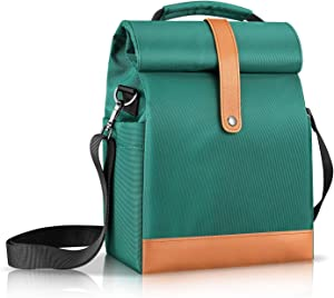 SITHON Reusable Lunch Bag | Cooler Tote Box | Waterproof and Insulated Interior | Stain Resistant Exterior | Keeps Food and Drinks Cold | Adjustable Strap | Perfect for Women Men and Kids, Green