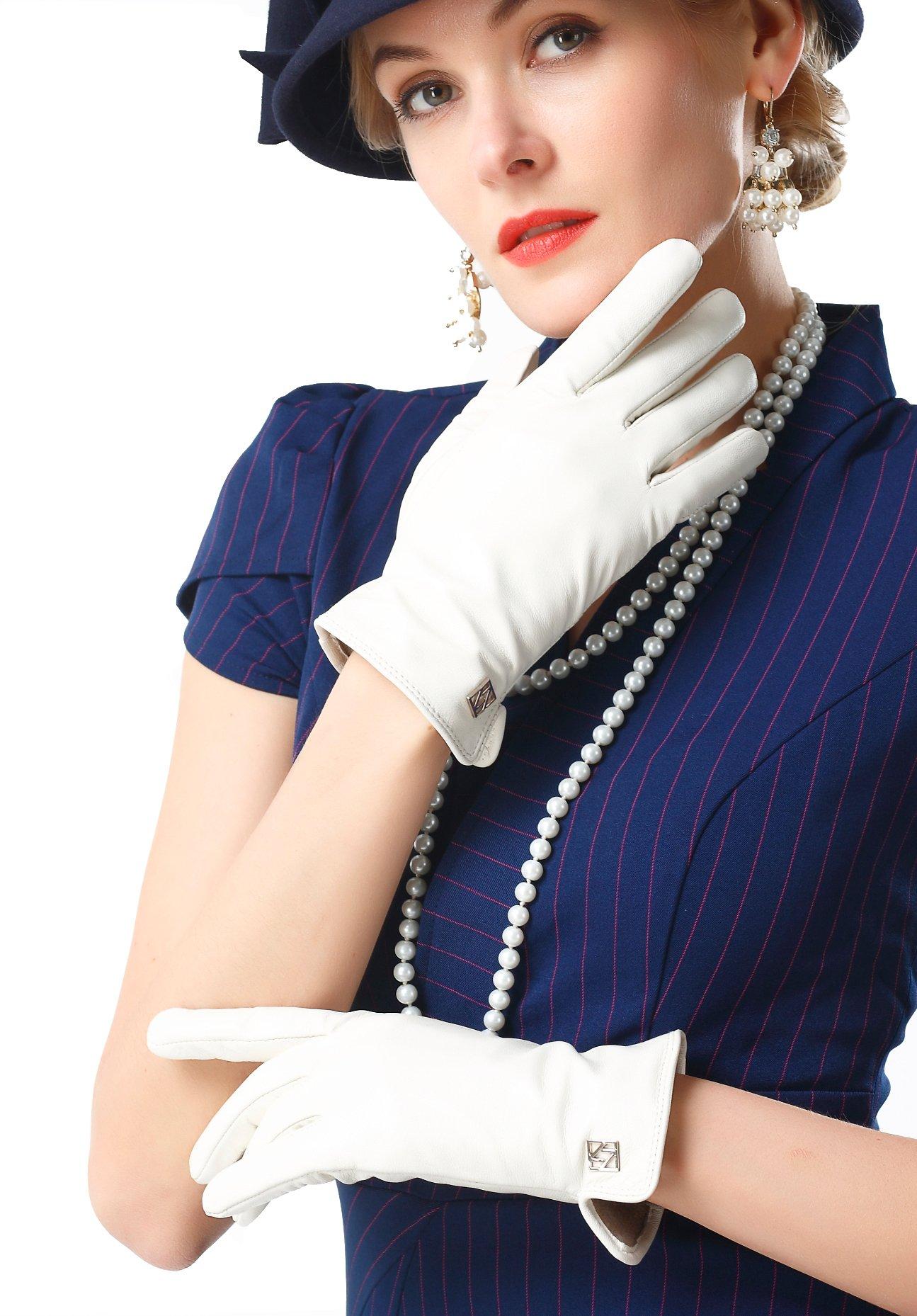NappaNovum Women's Classic Italian Nappa Leather Gloves Lambskin Winter Comfort Lining Fashion Gloves (Touchscreen or Non-Touchscreen) (L, White)