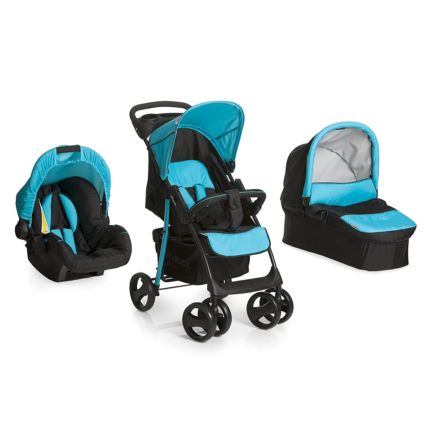 Hauck Shopper SLX Trio Set Lightweight Travel System, from Birth, Black/Blue (Car Seat, Carrycot and Raincover) H-15329