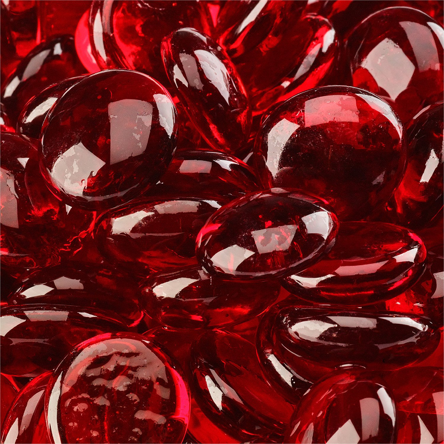 Red Fire Glass for Indoor and Outdoor Fire Pits or Fireplaces | 10 Pounds | Marlboro Red, Fire Glass Diamonds, 1 Inch Fire Pit Essentials
