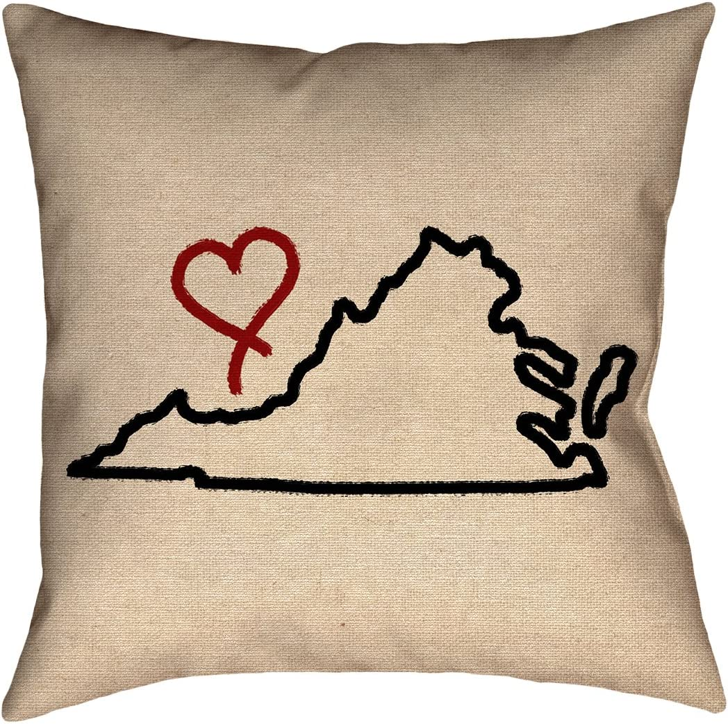 ArtVerse Katelyn Smith 20 x 20 Cotton Twill Double Sided Print with Concealed Zipper /& Insert West Virginia Love Pillow