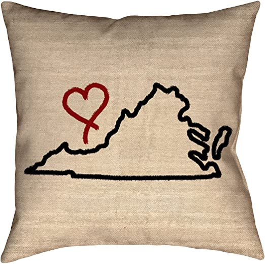 Updated Fabric ArtVerse Katelyn Smith South Dakota Love 20 x 20 Pillow-Faux Linen Double Sided Print with Concealed Zipper /& Insert