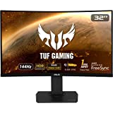 "ASUS TUF Gaming 32"" 2K HDR Curved Monitor (VG32VQ) - WQHD (2560 x 1440), 144Hz, 1ms, Extreme Low Motion Blur, Speaker, Adapti"