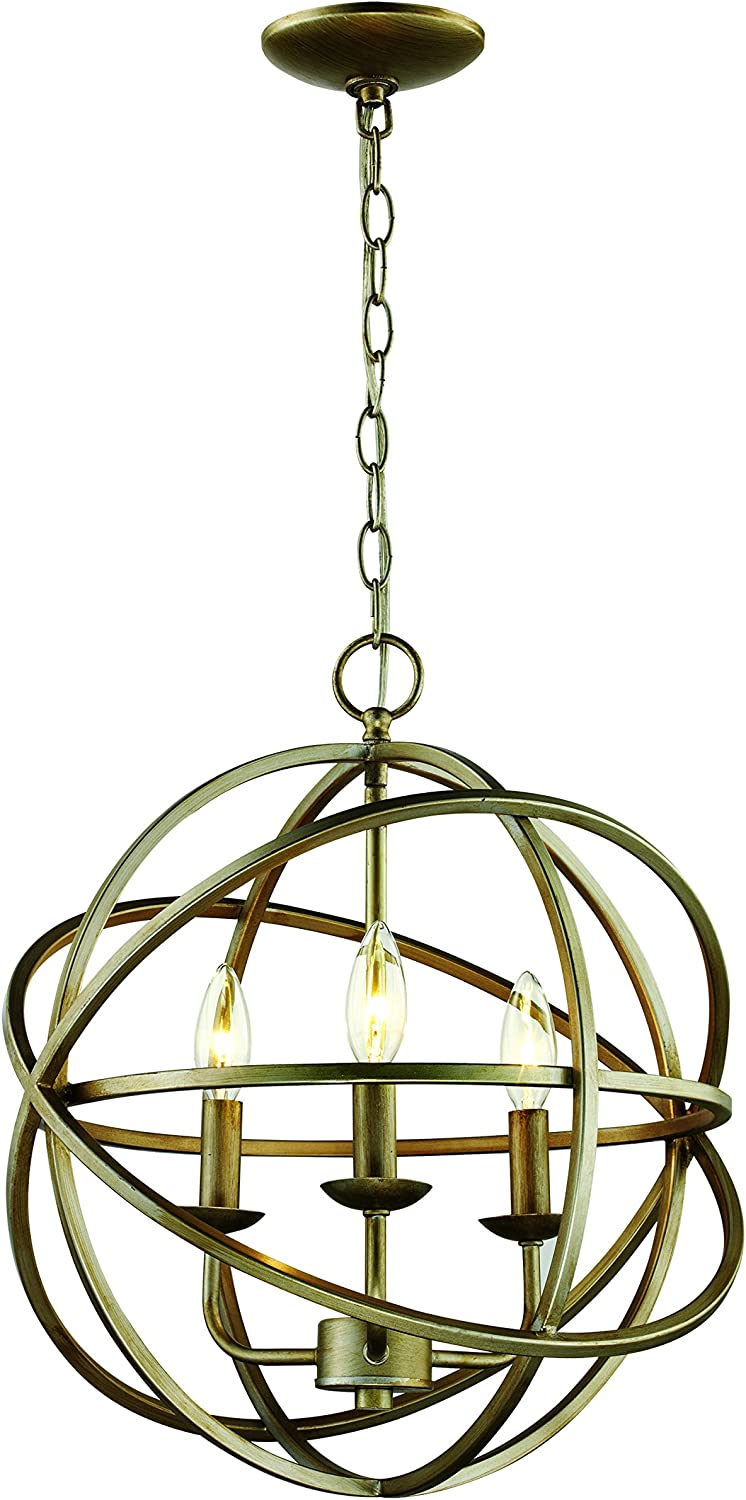 Antique Silver B//S Slvr Small 16.00 inches Finish Trans Globe Lighting Trans Globe Imports 70653 ASL Transitional Three Light Pendant from Apollo Collection in Pwt Nckl