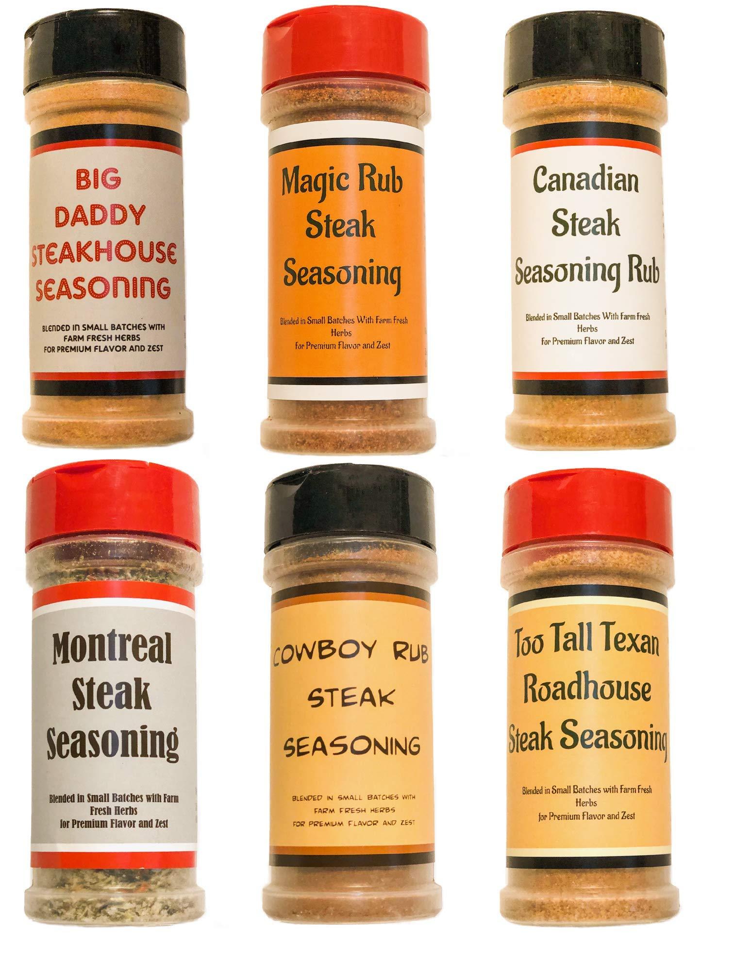 Premium | STEAK SEASONING Dry Rub Variety 6 Pack | Magic Steak Rub | Canadian Steak Seasoning | Big Daddy Steakhouse | Montreal Steak | Cowboy Rub | Too Tall Texas Roadhouse Seasoning by June Moon Spice Company