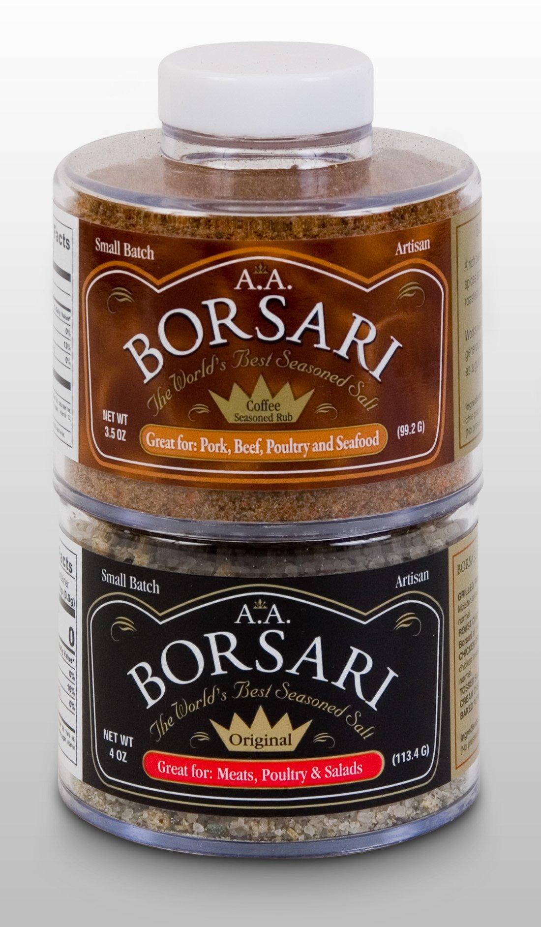 Borsari All Natural Seasoned Salt Combo, Original Seasoning and Coffee Rub, Gluten Free, No MSG