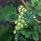 Continental Art Center BD-0025 8 by 8-Inch Green Grapes Ceramic Art Tile