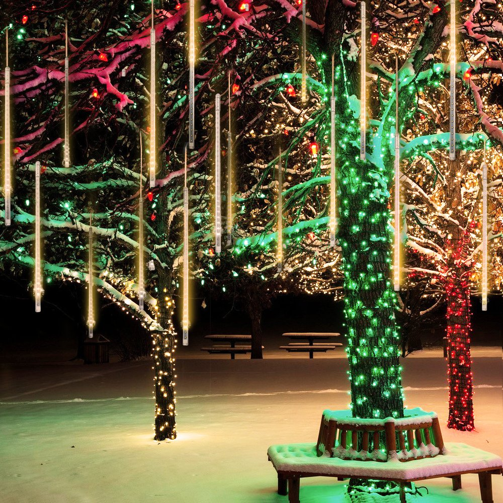 Upgraded Warm White Meteor Lightseagwell 20 Inches 10 Christmas Lights Circuit Diagram In Addition Tree Light 540 Led Shower Rain Waterproof Cascading Snow Falling For Wedding Xmas New Year Party Decoration Home Improvement