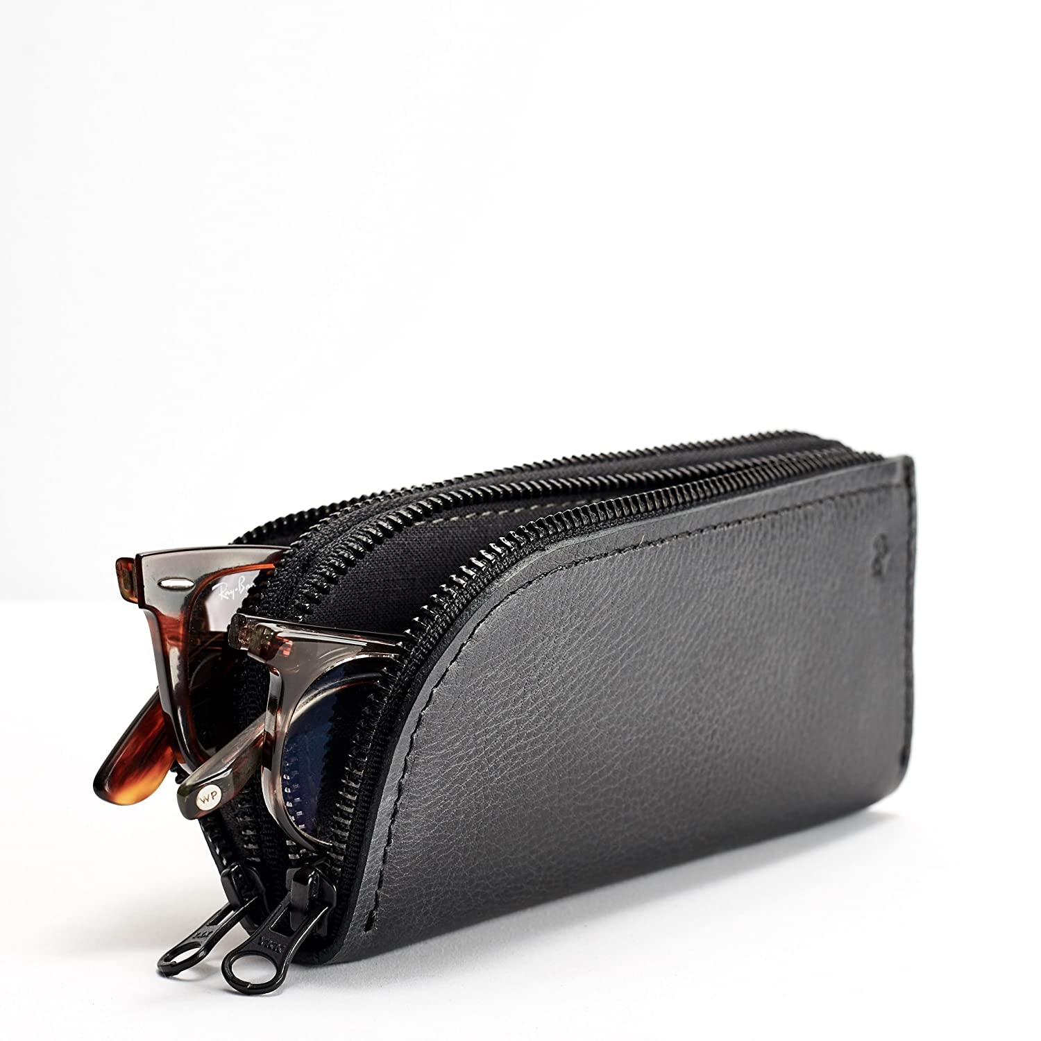 Capra Leather Glasses Case Double for Men, Black Two Sunglasses Bag, Handmade Eyewear Twin Pouch, Travel Ray-Ban Sleeve Cover. Mens Gift