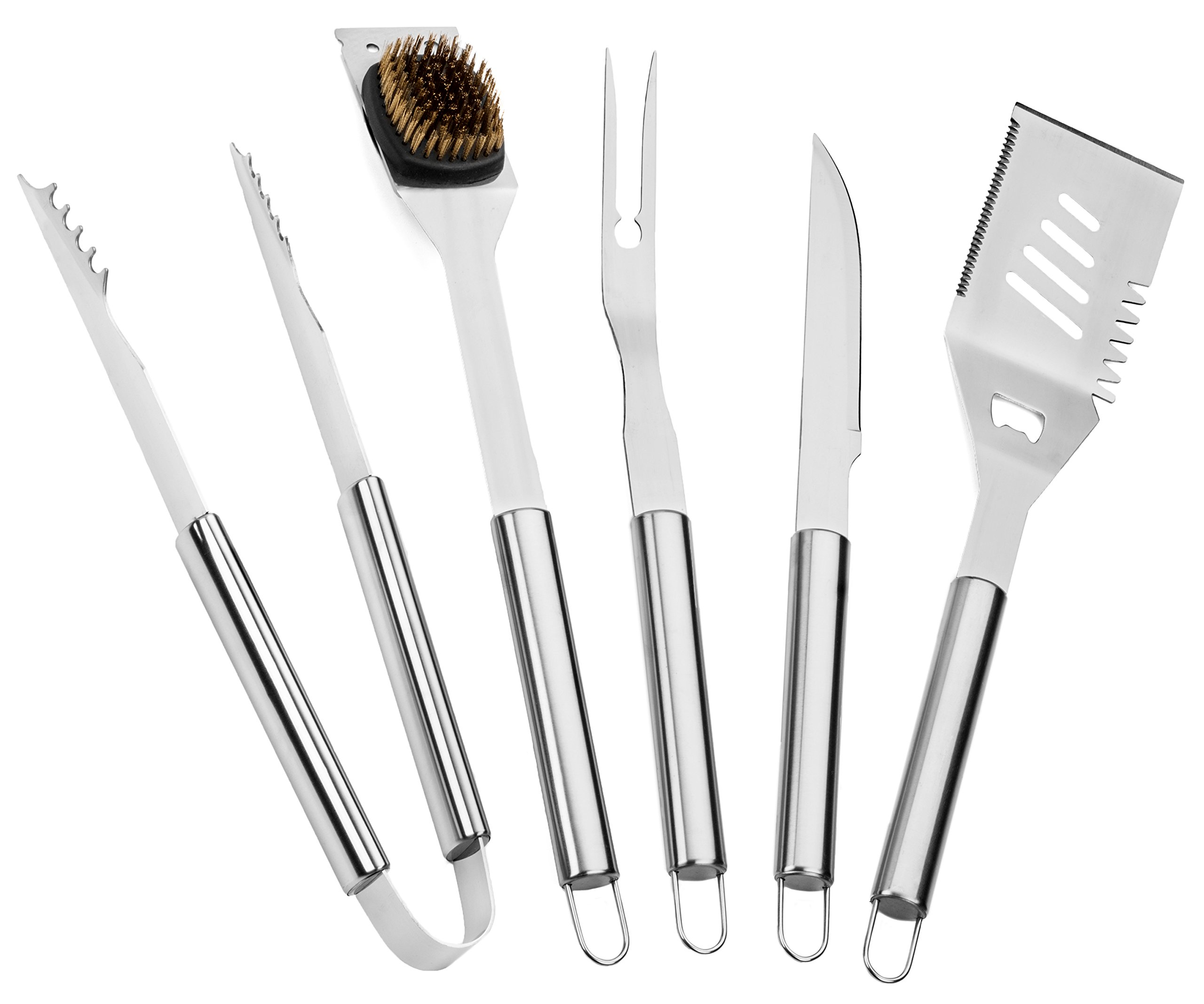 Elite BBQ Grill Tools Set - Stainless Steel Grilling Tools - BBQ Accessories - 5 Piece Barbecue Tool Gift Set w/ BBQ Spatula, Tongs, Knife, Fork, Cleaning Brush - BBQ Set - Barbeque Grill Accessories