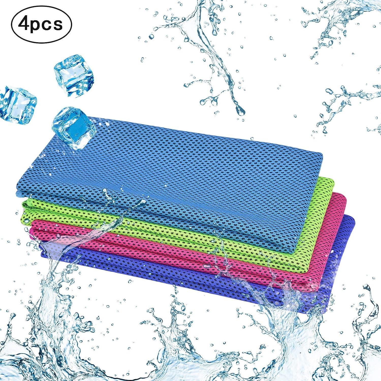 4pcs toalla de deporte refrescante KAKOO paño frío de toalla hielo fría instantánea de ejercicios de toallas secado rápido para gimnasio,tenis, yoga
