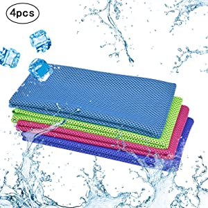 KAKOO Cooling Towel 4 Pack Instant Relief Microfiber Cool Towels Chilling Neck Wrap Ice Cold Rags/Scarf for Sports Gym Fitness Camping Cycling Hiking Workout Golf Travel (A-4 Color)