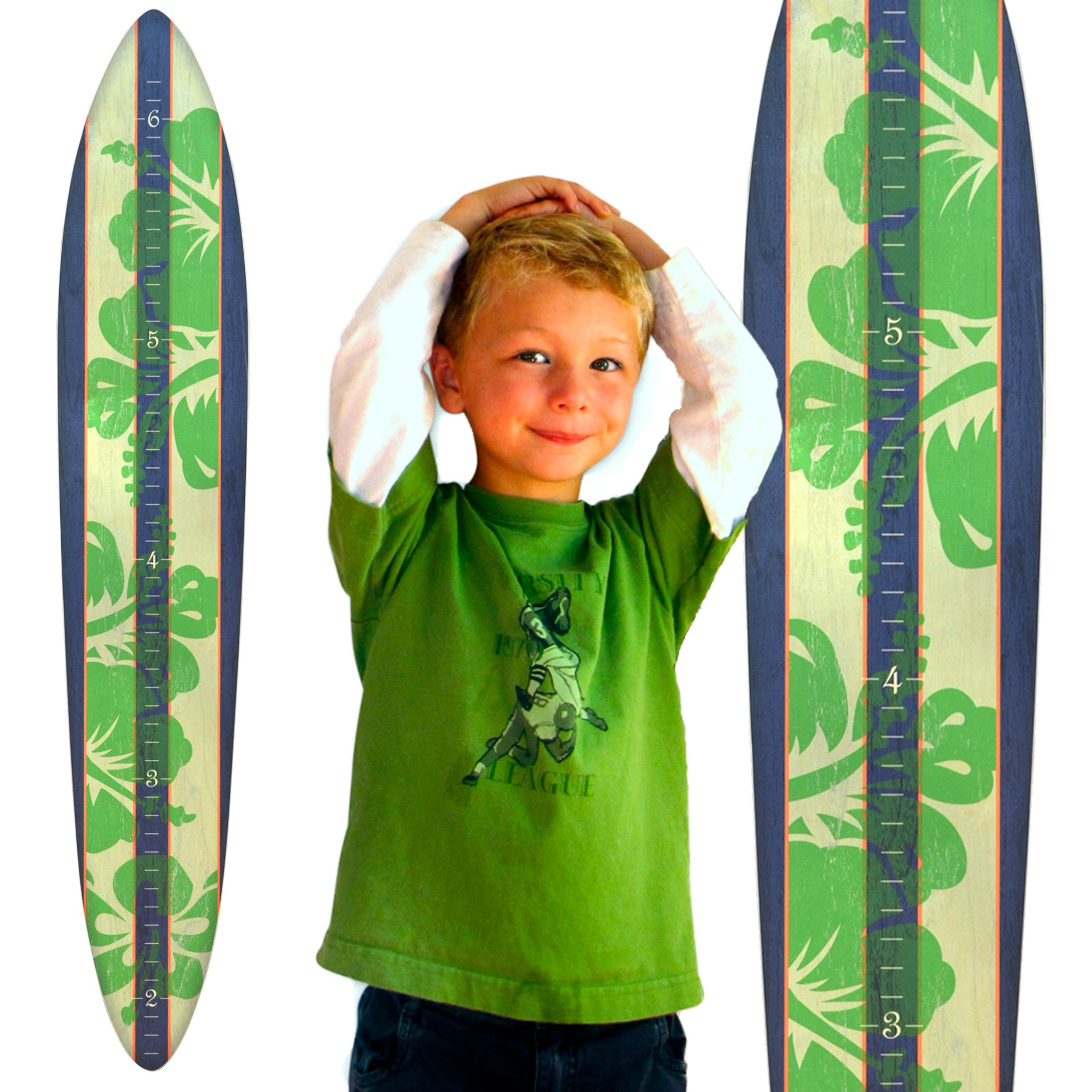 Growth Chart Art | Wooden Surfboard Growth Chart for Boys | Baby Shower Gift | Navy Green Hibiscus by Growth Chart Art