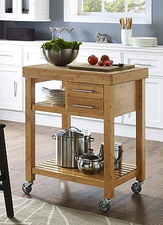 Boraam 50653 Mariko Bamboo Kitchen Cart With Solid Bamboo Top