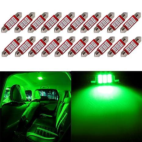 Festoon Bombilla LED, cciyu piezas) verde 36 mm DE3423 DE3425 C5 W 3423 Epistar