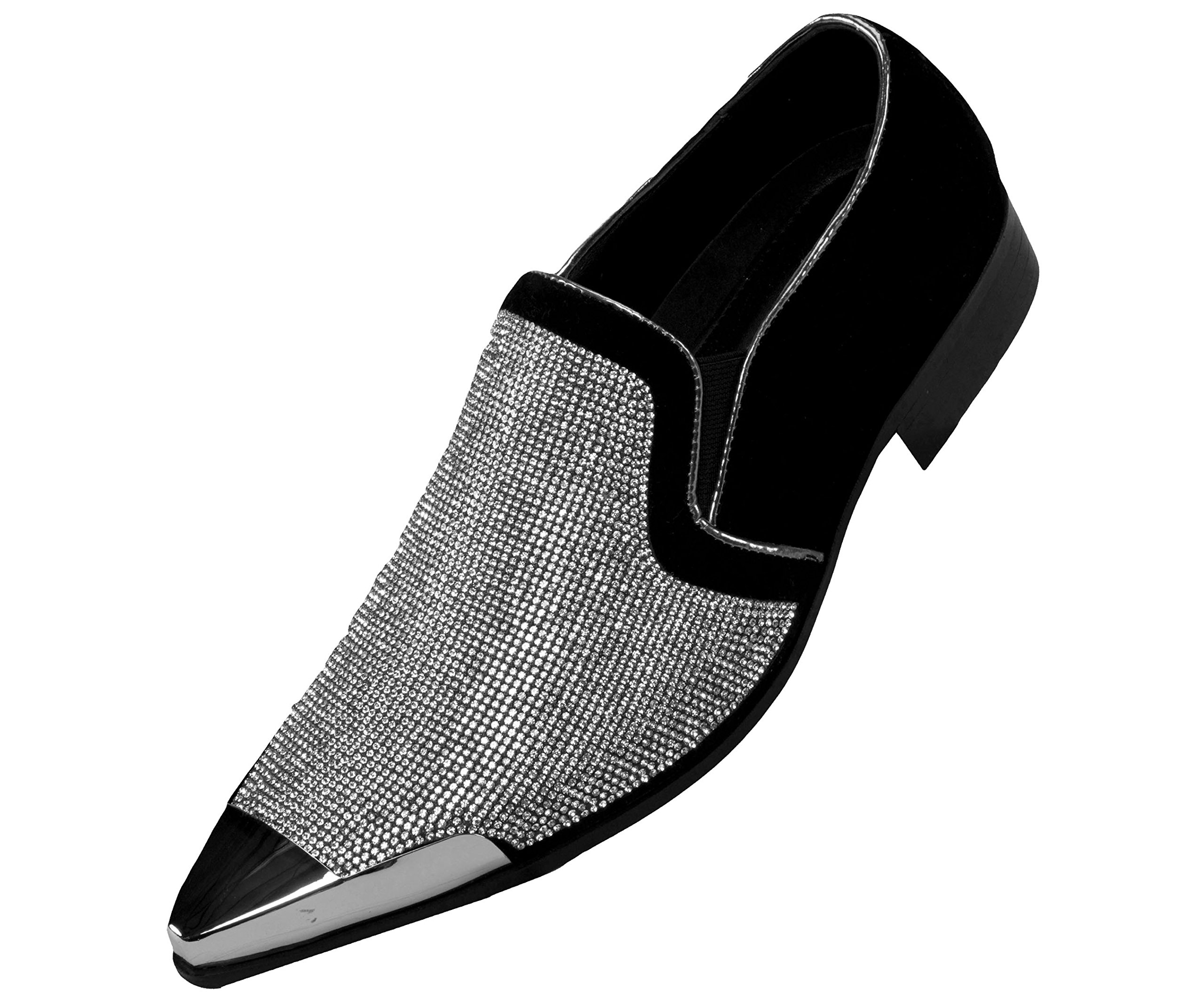 Bolano Mens Rhinestone Embellished and Faux Suede Trim with Metal Tip Dress Shoe, Comfortable Slip-On